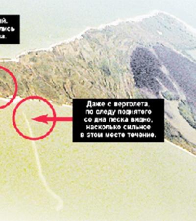 Остров Зеленый. Школьники купались у этого выступа. Даже с вертолета, по следу поднятого со дна песка видно, насколько сильное в этом месте течение.