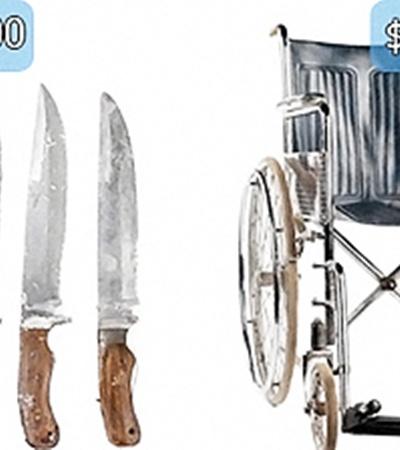 Набор ножей Джона Лока и его инвалидное кресло.