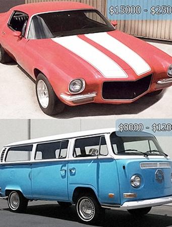 «Камаро» Хёрли (вверху) и микроавтобус Дхармы Энишитив на базе легендарного Volkswagen Type 2.