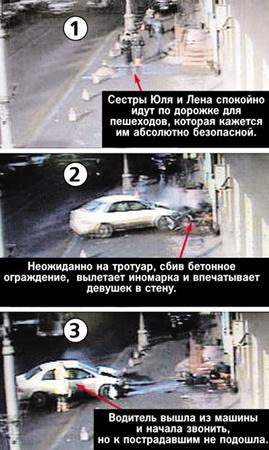 На ролике, снятом камерой наружного наблюдения, видно, как дорогой автомобиль на бешеной скорости вылетает на тротуар и буквально впечатывает двух сестер