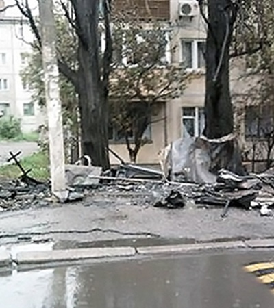 Так выглядит место взрыва.