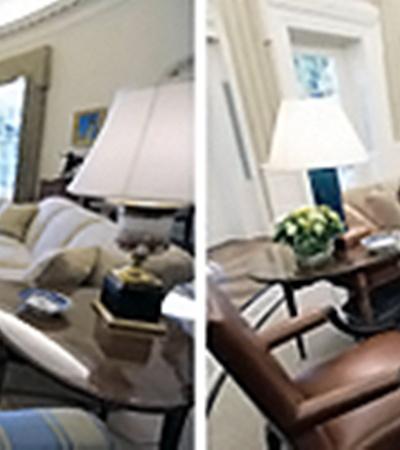 Слева - вид Овального кабинета при Дж. Буше-младшем, снимок сделан в декабре 2009 года. Справа - после косметических изменений 2010 года.