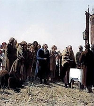 Григорий Мясоедов «Молебен в поле во время засухи». Находится в Национальном музее в Варшаве, а была украдена из фондов харьковской Украинской картинной галереи.