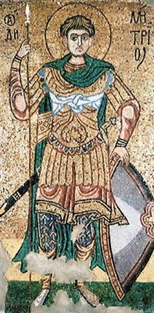 Одна из наиболее совершенных мозаик Михайловского собора «Дмитрий Солунский», ХІІ столетие. Сегодня открывает зал древнерусского искусства Третьяковской галереи.