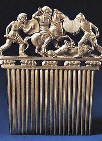Солохский золотой гребень, ІV столетие до н.э. Находится в Эрмитаже, Россия.