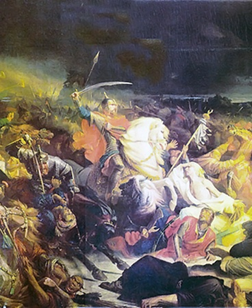 Так изобразил «Куликовскую битву» художник Адольф Ивон.