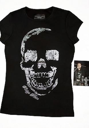 Филипп Киркоров пожертвовал для аукциона черную футболку 44 размера с черепом.
