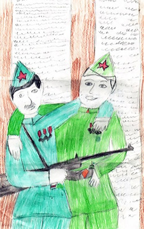 Сашин рисунок, который школьник прислал в подарок, теперь экспонат мелитопольского музея.