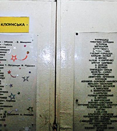 На двери клоунской можно прочесть имена легендарных артистов.
