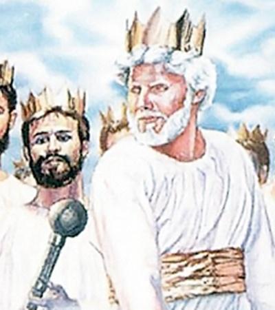 Иллюстрация из настольной книги сектантов «Откровение: его грандиозный апогей близок!»: Христос избавляет мир от мусора - сметает гору глиняных горшков. А так и кажется - булавой крушит черепа нам с вами.
