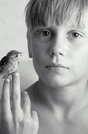 «Портрет с человеком». Автор - Сергей Томас. «На фото - мой сын и маленькая птичка, которая выпала из гнезда. Получив от нас помощь, она улетела, оставив на память нам эту фотографию».