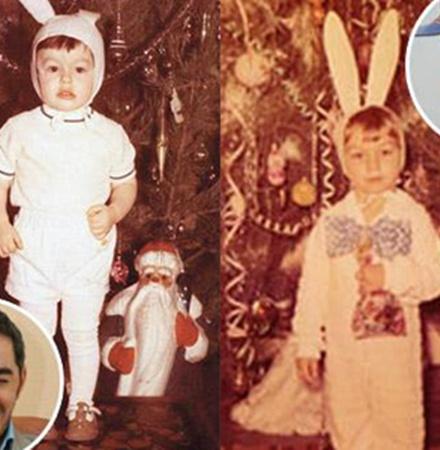 Таким «одноухим» Зайкой был в детстве Тимур Родригес. А вот у Андре Тана костюм в порядке.