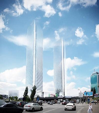 Высота башен Victory Towers - 254 метра.