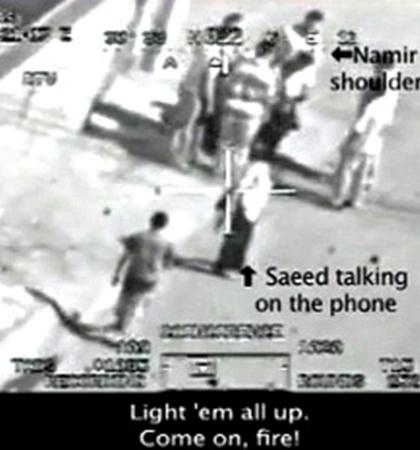 Рассекреченная правда - расстрел жителей Багдада с вертолета американских «миротворцев». Голос за кадром: «Освети их всех... Поехали, огонь!»