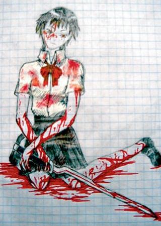 Настя делает депрессивные подписи к рисункам. Фото с сайта www.eg.ru.