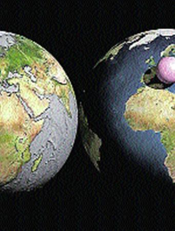 Голубой шарик: вся земная вода - около полутора миллиардов кубических километров - может быть собрана в сферу диаметром 1390 километров. Розовый шарик диаметром 1999 километров: весь земной воздух - порядка 5 тысяч триллионов тонн, - сжатый до давления в одну атмосферу.