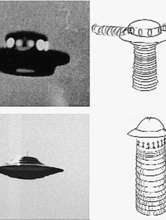 Фото «тарелок» от 23 марта 1974 года, Albiosc, Франция. Рядом - схемы, объясняющие принцип полета. Дискообразные аппараты взлетали за счет кольцевых вихрей (на схеме цифра 1) и/или за счет вращательного гироскопического эффекта (на схеме цифра 2).