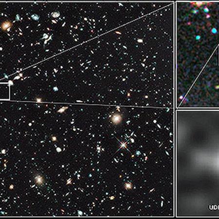 UDFj-39546284 на снимке, сделанном «Хабблом». Фото НАСА.