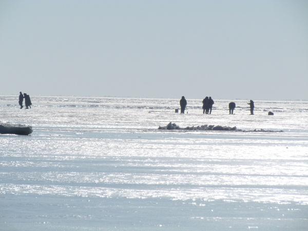 Любопытные мариупольцы приходят посмотреть на это царство льда. Фото: Александр ИЛЬЧЕНКО.