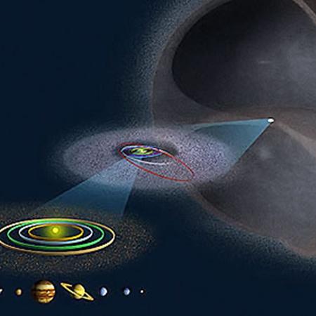 Радиус облака Оорта - порядка одного светового года.