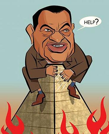 Мубарак стал любимым персонажем карикатуристов в Израиле.