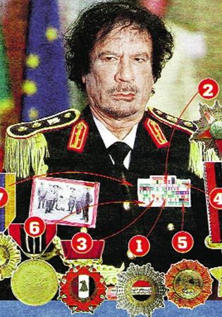 1 Орден Почета; 2 Орден Независимости; 3 Орден Военной звезды; 4 Орден Заслуг; 5 Орден Полумесяца; 6 Медаль Освободителя; 7 Орден Симона Боливара (Венесуэла).