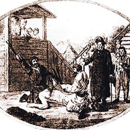 Гравюра Х. Гейслера (XVIII век). Наказание батогами дворового в присутствии помещика.