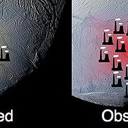 Так в НАСА проиллюстрировали ожидаемое (слева) и реальное количество тепла, генерируемое на южном полюсе Энцелада: в условных ТЭЦ.
