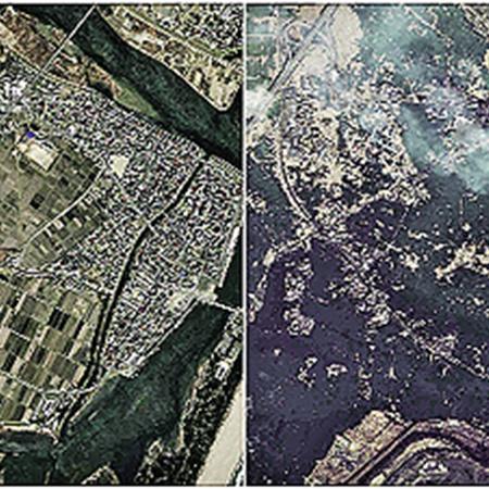 О том, что сейчас творится на островах, лучше всего говорят два этих фото. Со спутника сделаны снимки города Натори до и после цунами. Комментарии излишни.