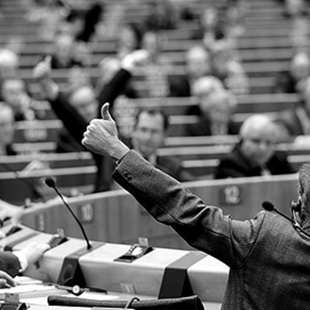 В Европарламенте голосуют поднятием рук и с помощью электронной системы.