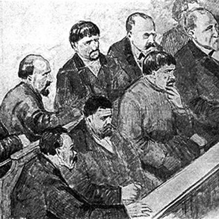 Присяжные. Рисунок из газеты «Киевская мысль». 1912 г.