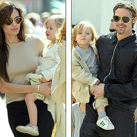 Джоли и Питт наконец-то показали подросших близнецов - Нокса и Вивьен. Фото Splash.