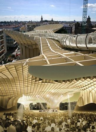 Гигантский зонт в Севилье. Фото с сайта www.membrana.ru.