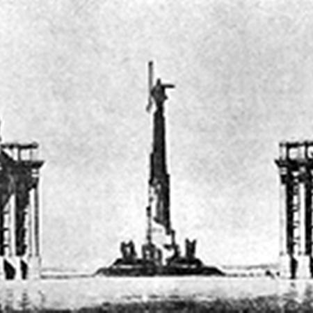 Проект архитектора Лангбарда. Такой «ансамбль» мог появиться на Михайловской площади. В результате построили только здание Совнаркома (слева). Сейчас там располагается МИД.