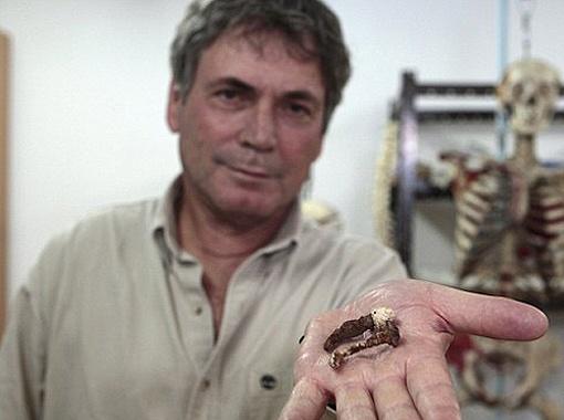 Археолог Исраель Гершкович с гвоздями.