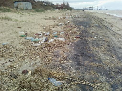 Пляж усыпан огромным количеством пустых пластиковых бутылок и прочего мусора. Фото: www.mariupol-express.com.ua.