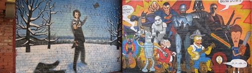 Первый проект Муниципалки: в арке здания на Пушкинской русский поэт стреляет в героев американских боевиков и мультяшек. Фото Романа ШУПЕНКО и из архива «КП».