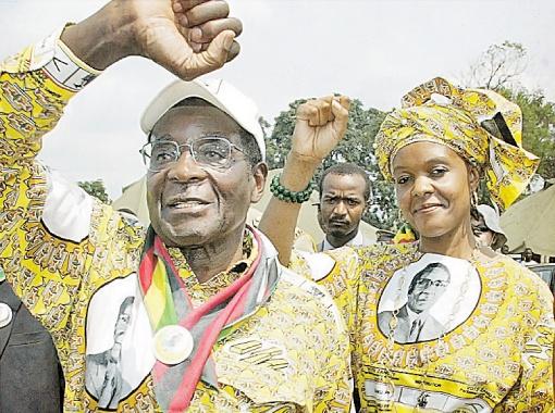 Грейс Мугабе с мужем-президентом, Зимбабве.