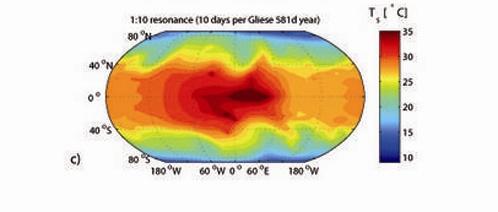 Распределение температур на Gliese 581 d