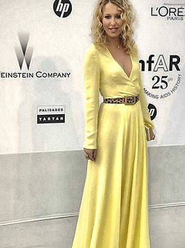 Ксения Собчак припасла для Канн платье солнечно-жёлтого цвета. Фото Woman.ru