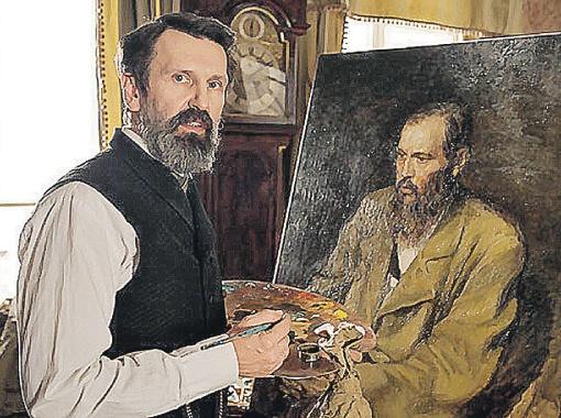 Оскароносный художник-мультипликатор Александр Петров сыграл живописца Перова и даже написал свой портрет Достоевского.