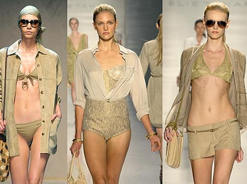 Особенно модно, если у вашего бикини будут блестящие детали телесного цвета. Фото Zimbio.com.