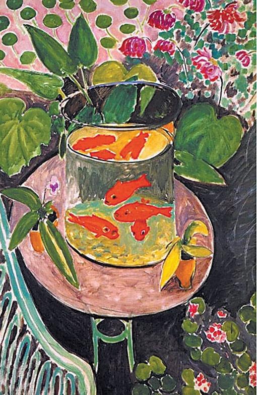 «Красные рыбки». Эту картину Матисс написал под впечатлением от древнерусской живописи. Здесь присутствуют ее элементы - сочетание прямой и обратной перспективы, а также красного и зеленого цветов.