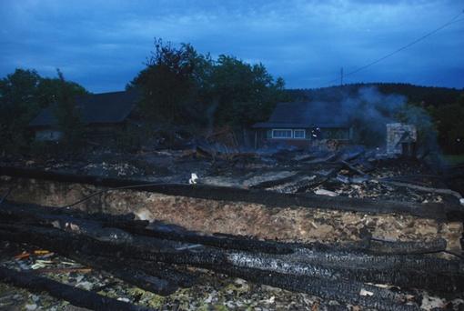 Дом сгорел полностью. Фото ГУ МЧС во Львовской области.
