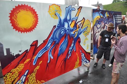 Победила в конкурсе работа киевской команды «89» - абстракция с вулканом, вырастающим на фоне города.