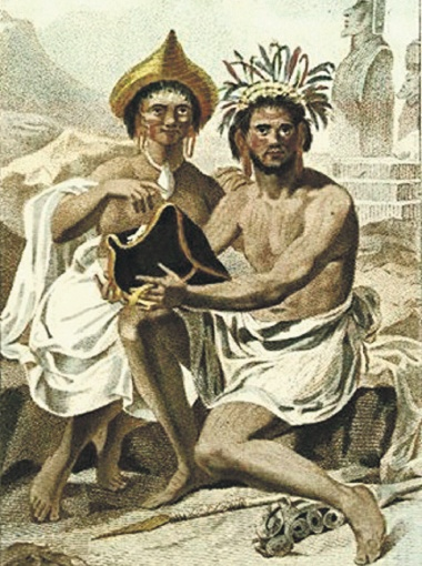Жители острова Пасхи. Гравюра 1860 года. Обратите внимание на отвислые мочки ушей.