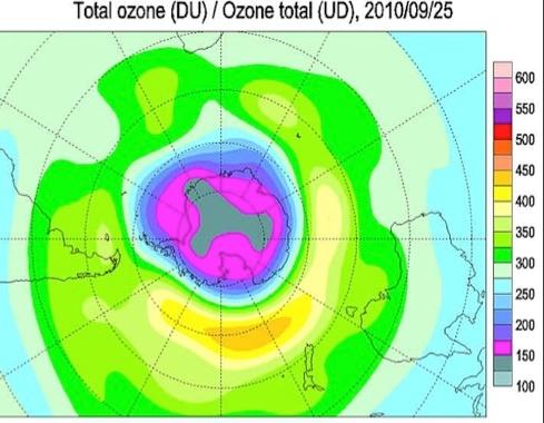 Озоновая дыра 2010-го была одной из самых маленьких. Наибольшего размера (22,2 млн км²) она достигла 25 сентября.Фото: с сайта compulenta.ru