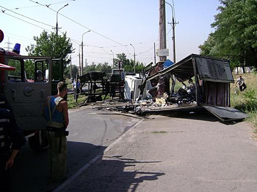 Перевернулся грузовик. Фото: 0629.