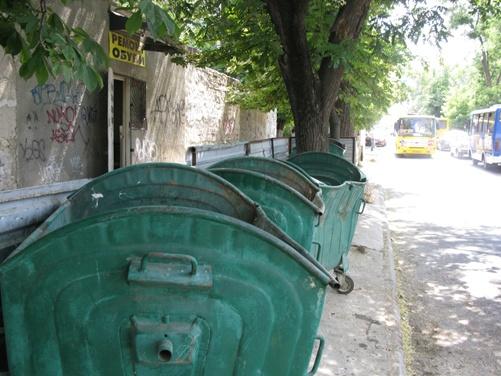 Баки по улице Маяковского: то ли в них не сорят, то ли хорошо убирают