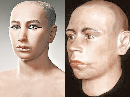 Одно время мальчика-царя изображали невероятным красавцем (слева). На самом деле, как теперь выяснилось, у Тутанхамона было вот такое лицо кавказской национальности.